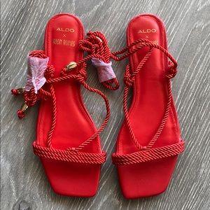 Red straps flat sandal